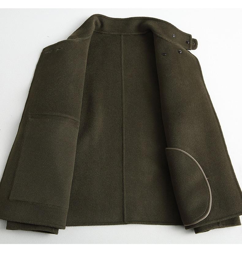 Alta Real Primavera Verde Estilo Doble Chaquetas Militar Abrigos Mujeres Lana Calidad Las Abrigo De Z289 Mujer Cara Para Otoño Corto 1UIZxddq