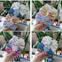5 компл./лот блестящие заколки для волос Русалочки галстуки-бабочки с блестками Duckbill комплект заколок для волос Океаническая ракушка принцесса девушки заколки для волос аксессуары для волос