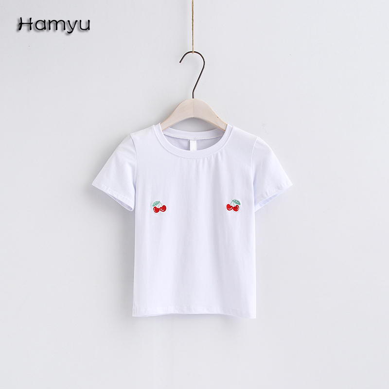 2017 New Fashion Women Cute Embroidery Cherry Pattern Short Sleeve T