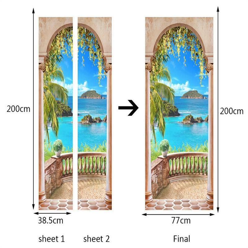 Купить с кэшбэком Photo Wallpaper 3D Roman Column Seaside Landscape Mural Wall Door Sticker Living Room Home Decor Creative DIY PVC Wall Paper 3 D