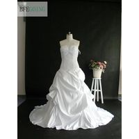 White Satin A Line Wedding Dress Strapless Dropped Court Train Floor Length Lace Up Custom Made