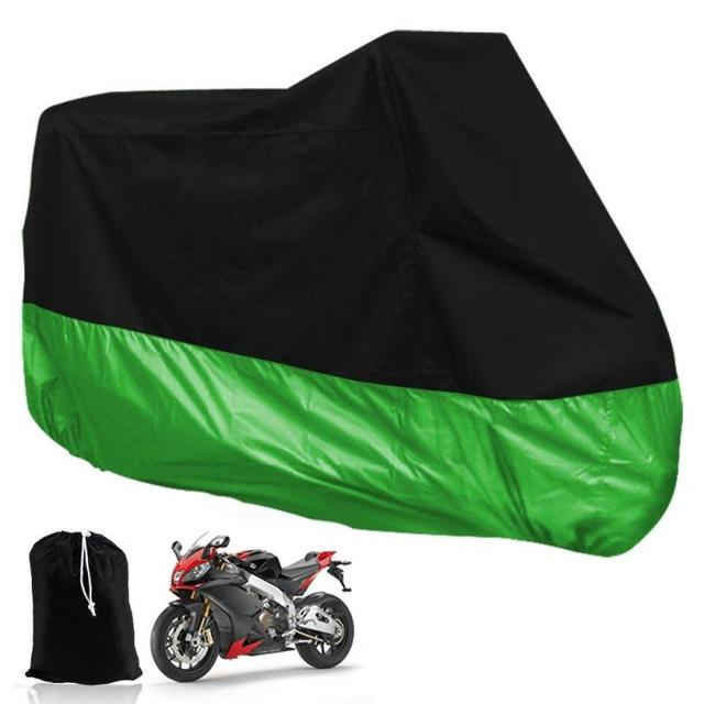 Black-Green L Size 220*95*110cm Motorcycle Covering Waterproof Scooter Outdoor Cover UV Resistant Heavy Racing Bike for Kawasaki