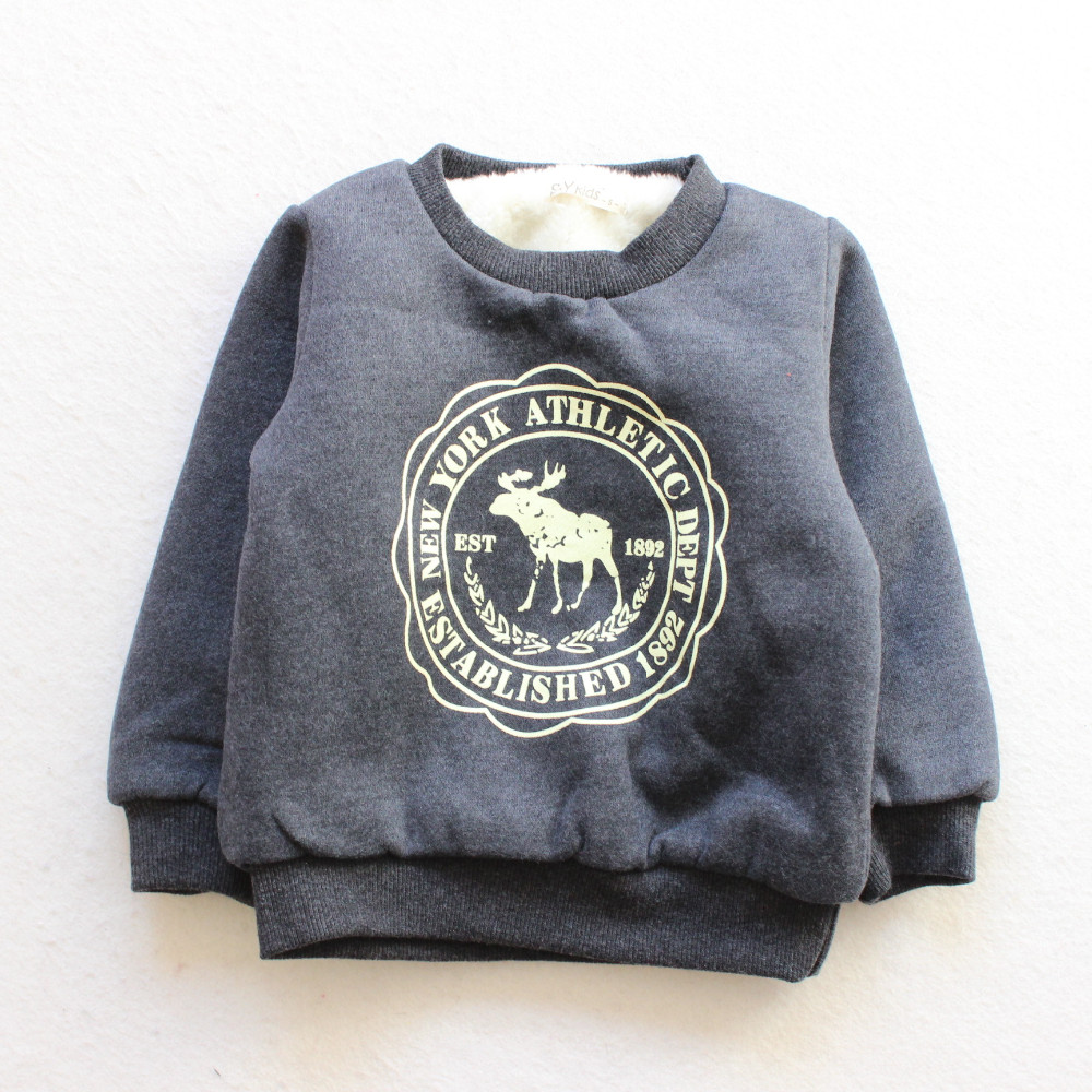 BibiCola Boy Girls Sweater Clothes Children thick Sweaters baby boys Fawn pattern Casual Kids Plus velvet thick Tops Costume