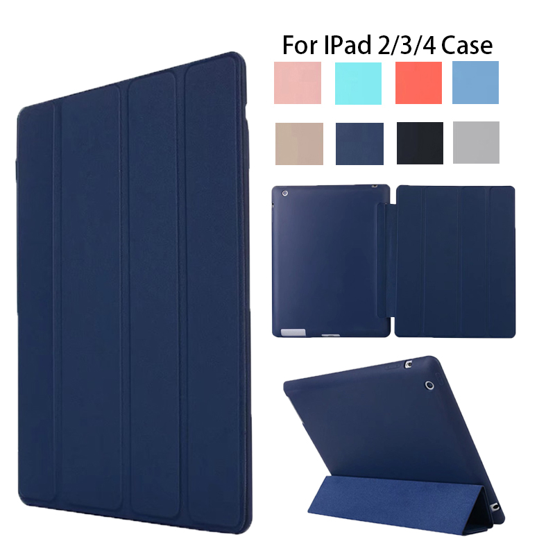 For ipad 4 Ipad 2 Case Leather Case Soft TPU Back Trifold Smart Cover Shockproof Protective Case for iPad 2/3/4 soft tpu tablet back case for ipad air 1 2 silicone transparent cover for ipad mini 1 2 3 for ipad2 3 4 crystal protective case