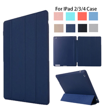 цена на For ipad 4 Ipad 2 Case Leather Case Soft TPU Back Trifold Smart Cover Shockproof Protective Case for iPad 2/3/4