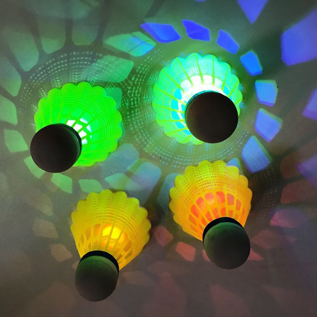 4Pcs Pack LED Luminous Badminton Newfangled Dark Night Glow Lighting Shuttlecock Ra