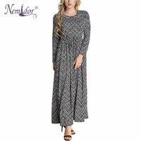 Nemidor Autumn Women Casual Long Sleeve Stretchy Waist Patchwork Dress O-neck Print Plus Size 6XL Ankle Length Long Dress