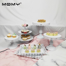 6 Thin Disk Pcs White Wedding Set Crystal Cake Tray 3 Tier Metal Cupcake Stand