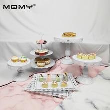6 Thin Disk Pcs White Wedding Set Crystal Cake Tray 3 Tier Metal Cupcake Stand