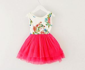 Платье для девочек, Лето 2017, новое платье с цветочным рисунком для маленьких девочек, платье принцессы, платья для младенцев, детская одежда с бантом, детская одежда для девочек