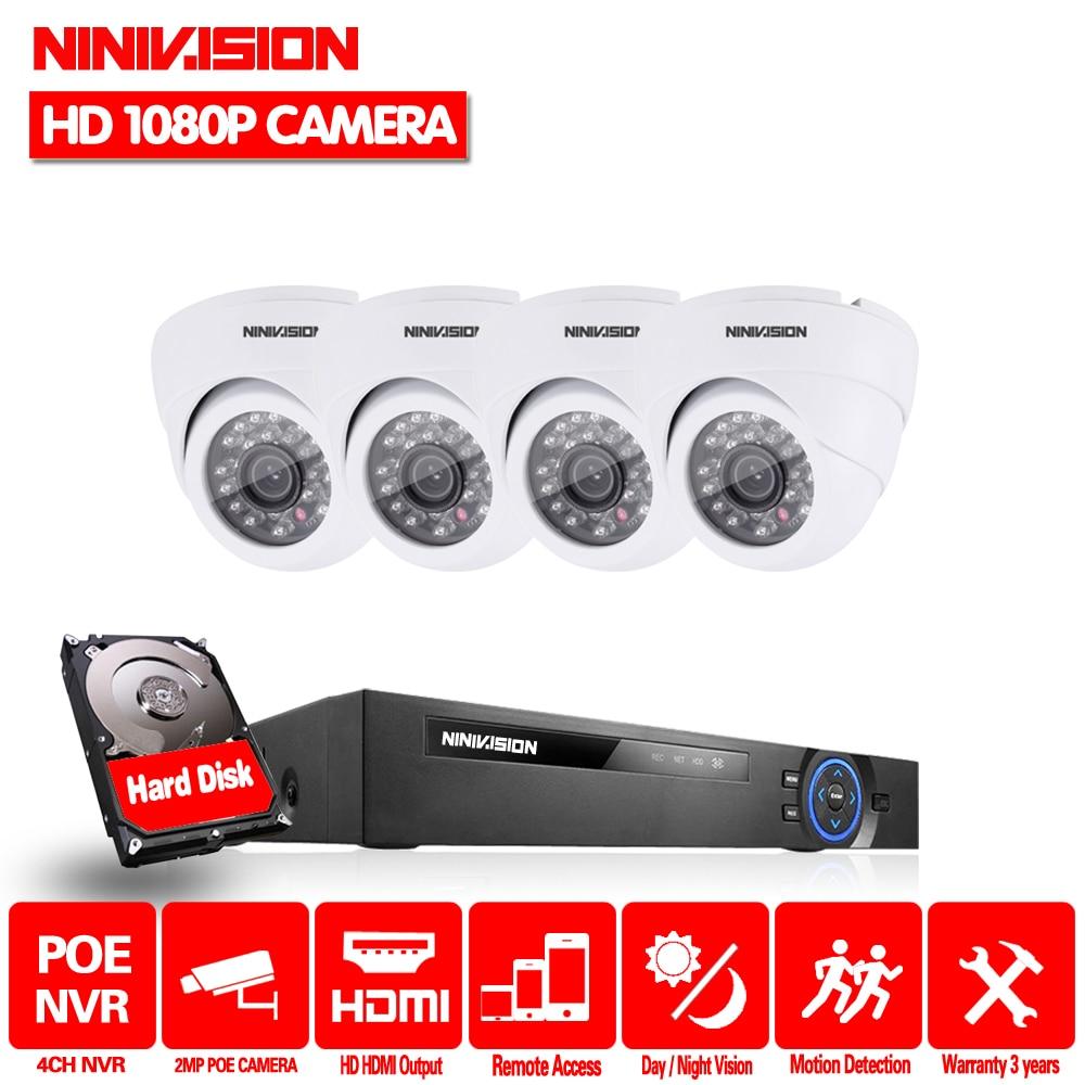 NIVISION HD 4CH NVR 1080P 48V POE CCTV System Kit 4Pcs 2.0MP indoor IP POE Camera IR P2P Security Video Surveillance Set 2TB HDDNIVISION HD 4CH NVR 1080P 48V POE CCTV System Kit 4Pcs 2.0MP indoor IP POE Camera IR P2P Security Video Surveillance Set 2TB HDD