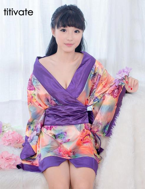 ENFEITAR Sexy Lingerie Quimono Impressão Decoração Fêmea Uniforme Pijamas Robe Noite Vestido de roupa interior Lingerie Pijama para as mulheres