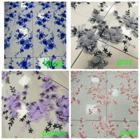 5yards gray/pink/blue/purple elegant fine embroidered tulle lace fabric with 3D flowers for bridal dress lace fabric