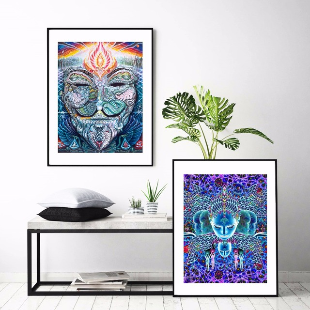 Aliexpress Com Buy Psychedelic Face Acid Lsd Canvas Art Print