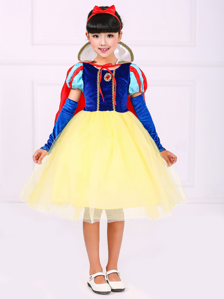 christmas boutique 5 to 11 years old girl princess snow white role-play costume dress with headband
