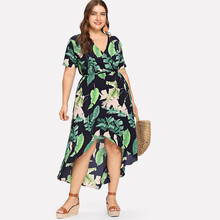Leaf Print V-neck  Belt Dress