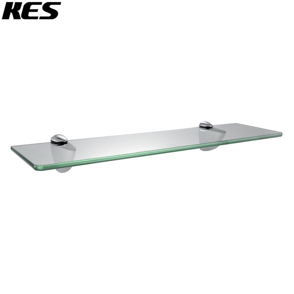 Brushed nickel bathroom shelves - Kes Bgs3200 Lavatory Bathroom Tempered Glass Shelf 8mm Thick Wall Mount Rectangular Polished Chrome