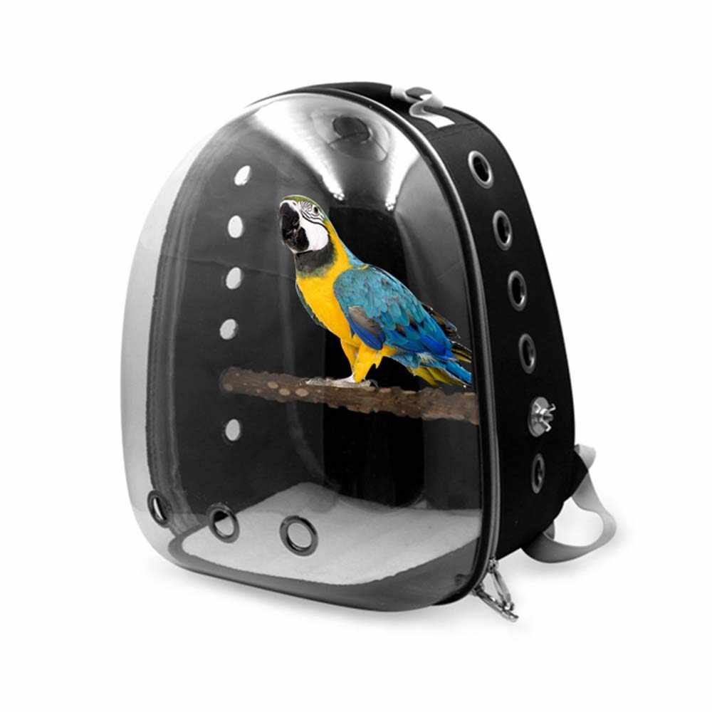 Parrot Cage Bird Cat Carrier Outdoor Travel Transport Bird Carriers transparent Handbag Breathable Backpack PVC bag pet supplies