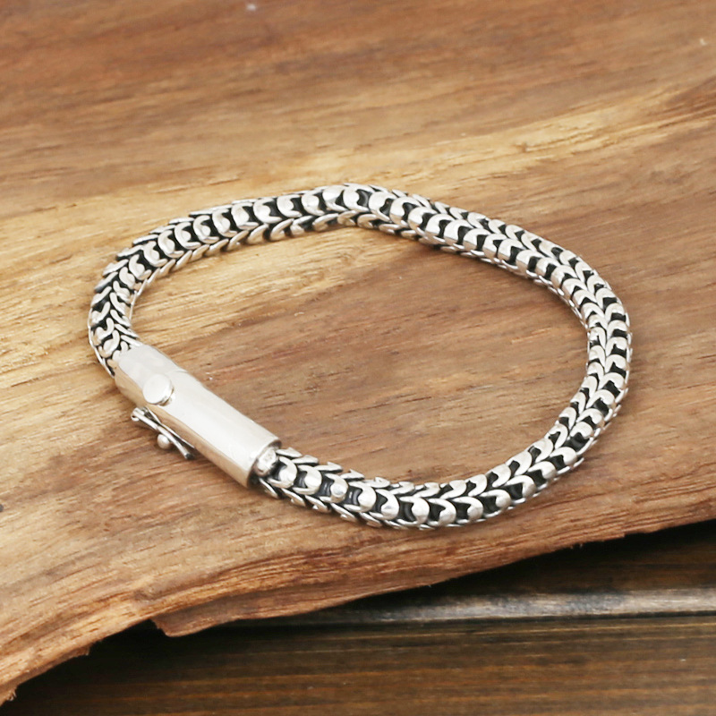 S925 wholesale silver jewelry Mens handmade in Thailand silver buckle 6m Dragonscale simple Bracelet wholesale silver jewelry manufacturers s925 mens fashion silver silver bracelet handmade coarse twist 7m