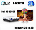 Newest! DLP Mini Shutter 3D HD 1080P Native 1280*800 convert 2D to 3D Amazing display effect Projector Beamer Proyector