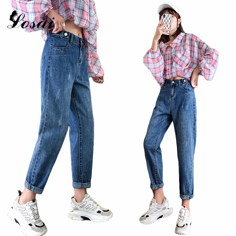 Jeans Women Mom Jeans Pants Boyfriend Jeans For Women With High Waist Push Up Large Size Ladies Jeans Black Denim Harem Pants