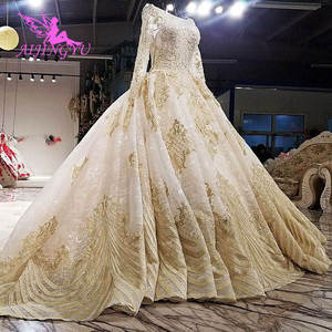Image 5 - AIJINGYU White Bride Dress Lustrous Satin Gowns Train Indian Jumpsuit Tulle Online Designer Puffy Lace Gown Wedding Dresses In