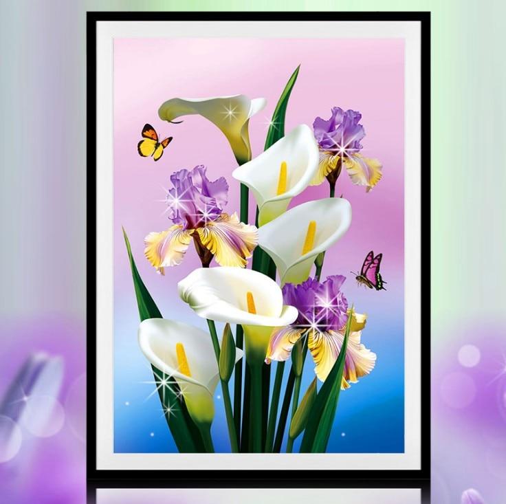 DIY 5D Diamantmålning Korsstygn Blommor Vit Calla Lily Diamant Broderi Kanelmålning Diamantmosaiksten