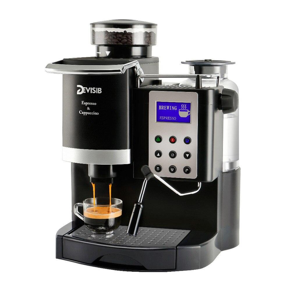 DEVISIB 20BAR Italie-type Automatique Espresso machine à café Maker avec moulin à graines et mousseur à lait 1 Année Garantie, Y Compris
