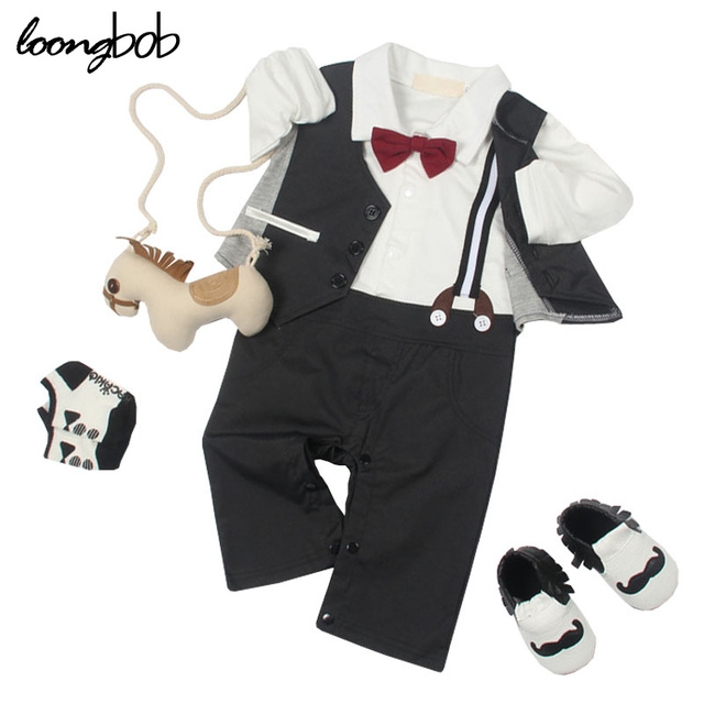 f5ef4809f0b4 Cute Baby Boys Gentleman Rompers Newborn Formal Suits Spring Autumn Wedding Party  Wear Jumpsuits Costume Clothes For Toddler