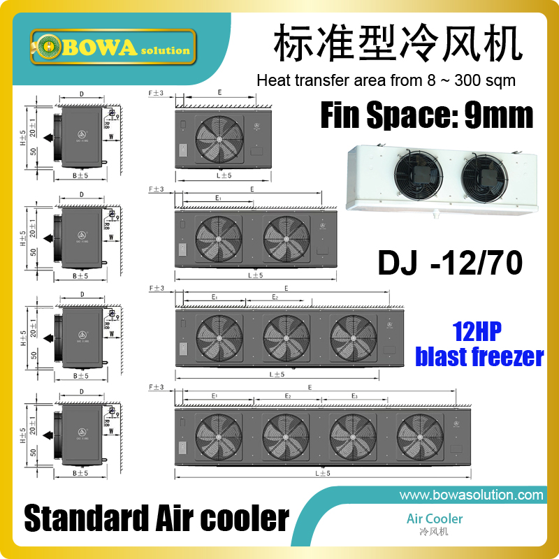 70sqm low temperature air cooler matches 12HP condensing unit to consist of complete freezer equipments to cool food stuff