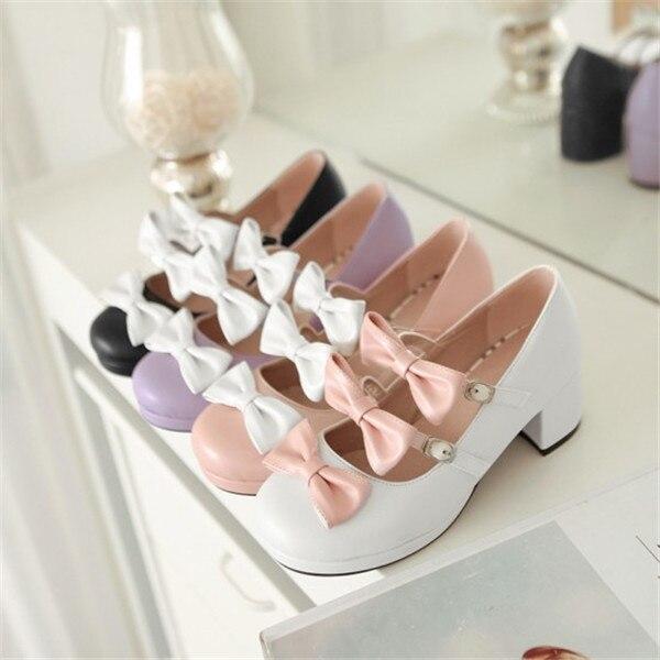 Mori fille Lolita fille collège style poupée chaussures avec arc princesse japonaise chaussures à talons épais multicolore en option A
