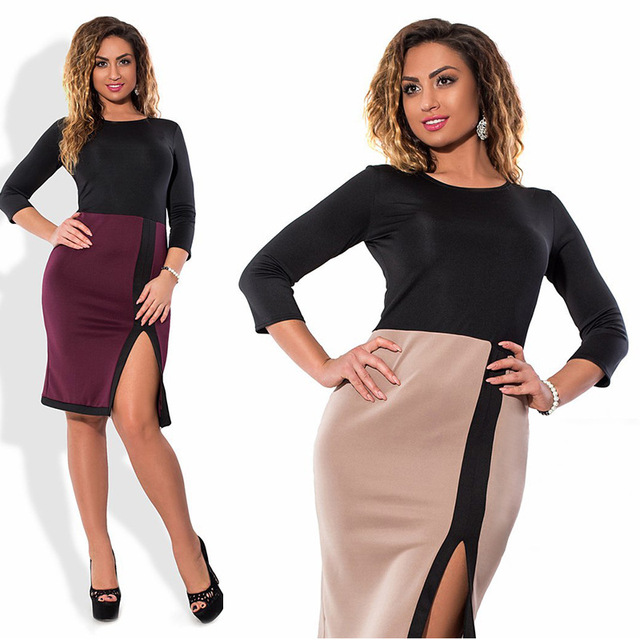 Women Autumn Sexy Casual Patchwork knee length O-Neck Three Quarter Sleeve Bodycon Elegant Plus Size L-6XL Dress