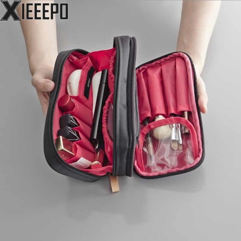 Fashion Women Cosmetic Bag Makeup Bag Double Zipper Travel Organizer Professional Storage Brush Make Up Case