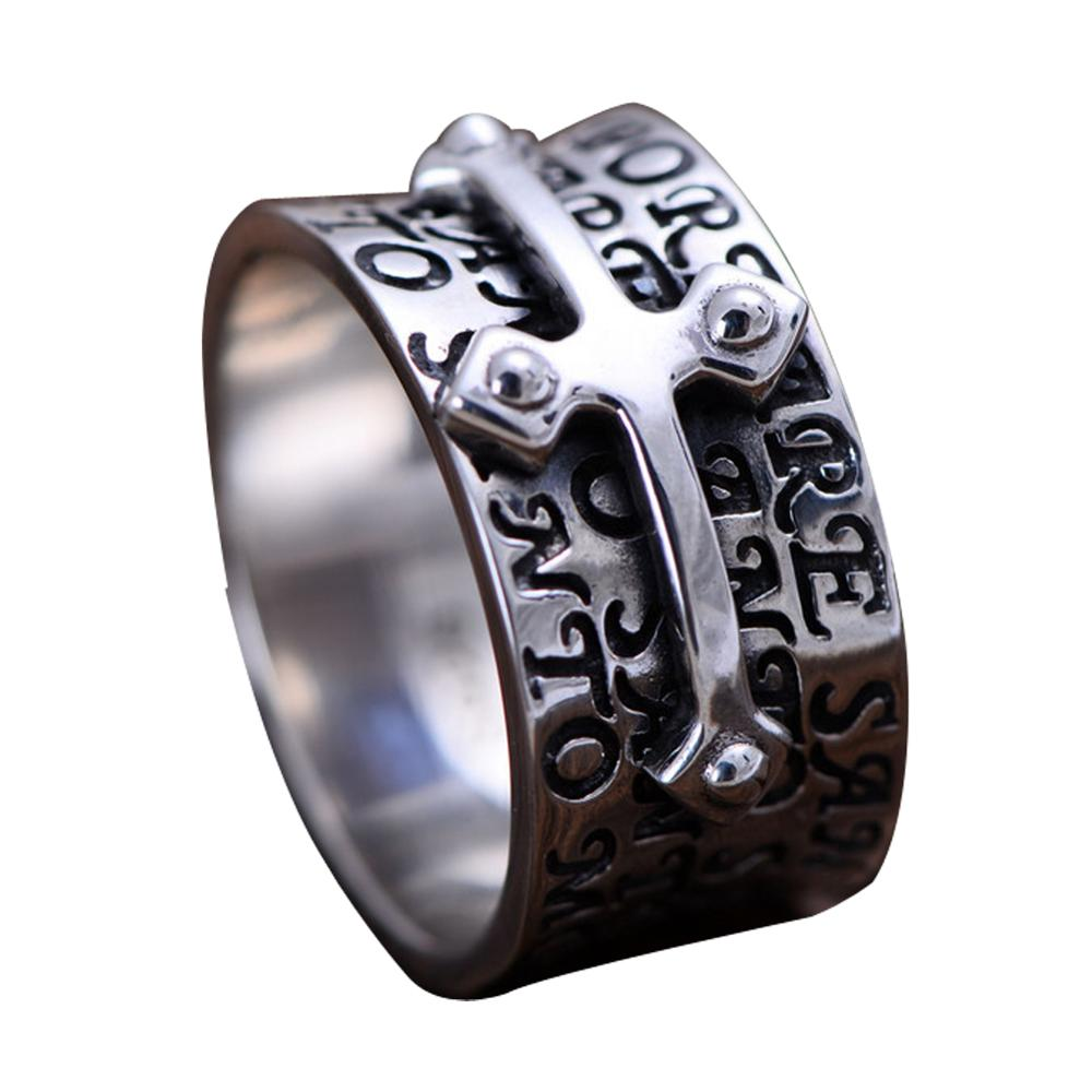 Jade Angel Men Retro Sterling 925 Silver Engraved Words Cross Band Style Ring Christmas Gifts Fathers Day Gifts  Birthday GiftJade Angel Men Retro Sterling 925 Silver Engraved Words Cross Band Style Ring Christmas Gifts Fathers Day Gifts  Birthday Gift