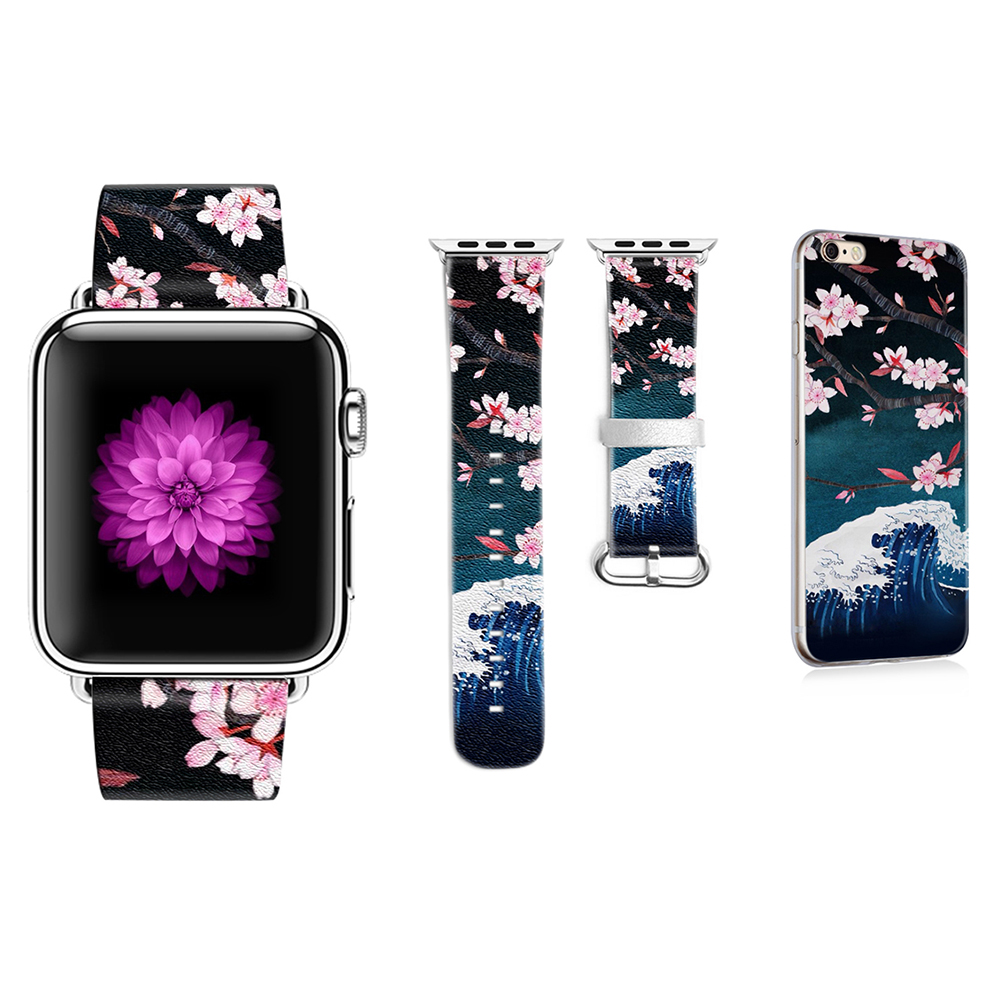 Cherry Blossoms Pattern Band for Apple Watch 38mm 42mm Band for Iwatch Series 1 2 3 Strap Genuine Leather Gift for IPhone Case original abstract art lines band for apple watch band 38mm 42mm leather for iwatch band series 1 2 3 gift for iphone case