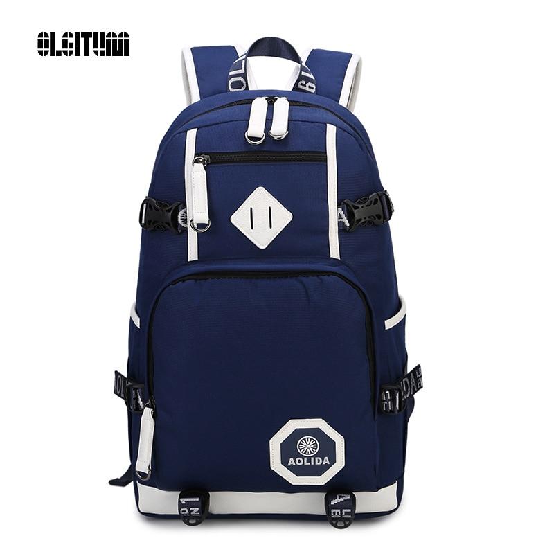 OLGITUM 2017 Middle student School Bags College Wind Shoulder Bag Oxford Waterproof Retro Backpack Men Bag