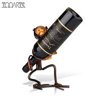 Tooarts Iron Sculpture Monkey Shaped Wine Bottle Holder Wine Shelf Metal Practical Sculpture Wine Racks Home Decoration