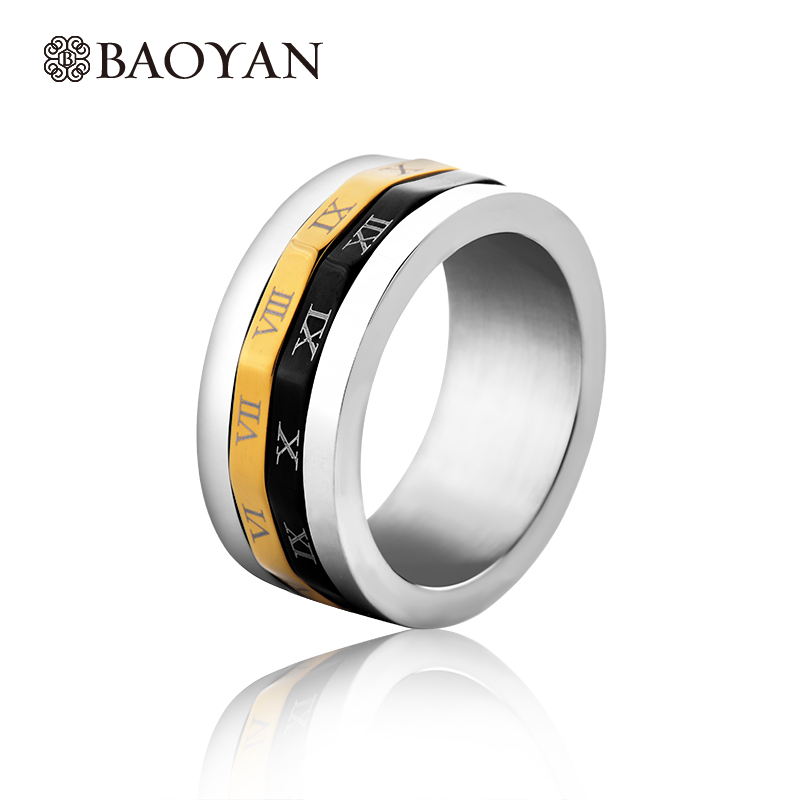 3 Colors Round Stainless Steel Silver Plated Men Ring Hot Sale Fashion Jewelry Carving Rowan Digital Ring For Male N1