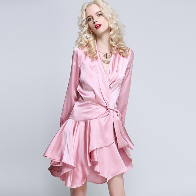Brand Runway Asymmetrical Dress Women Ladies Autumn Winter Long ...
