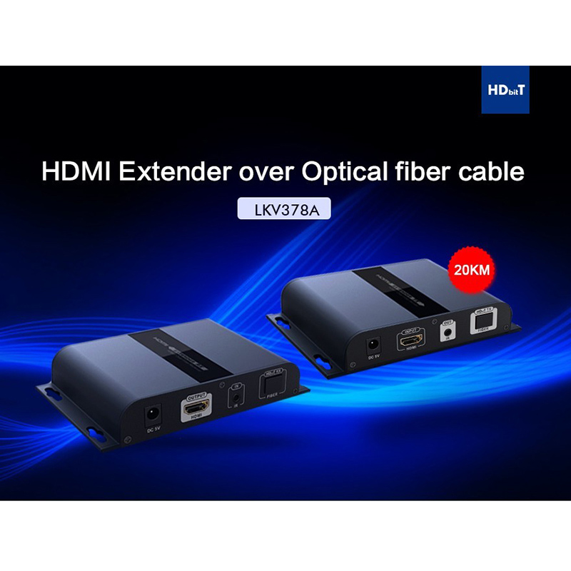LKV378A HdbitT Optic Fiber HDMI Extender 1080P Support One Transmitter To Multiple Receivers Up To 20 Km IR Remote Control m29504 14 4151 [ fiber optic connectors 26 up start 3 wks aro ]