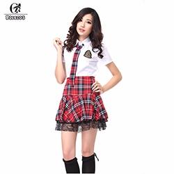 ROLECOS-Brand-New-Fashion-Japanese-School-Girl-Uniforms-Short-Sleeve-White-Shirt-Plaid-Skirt-Sets-Cosplay