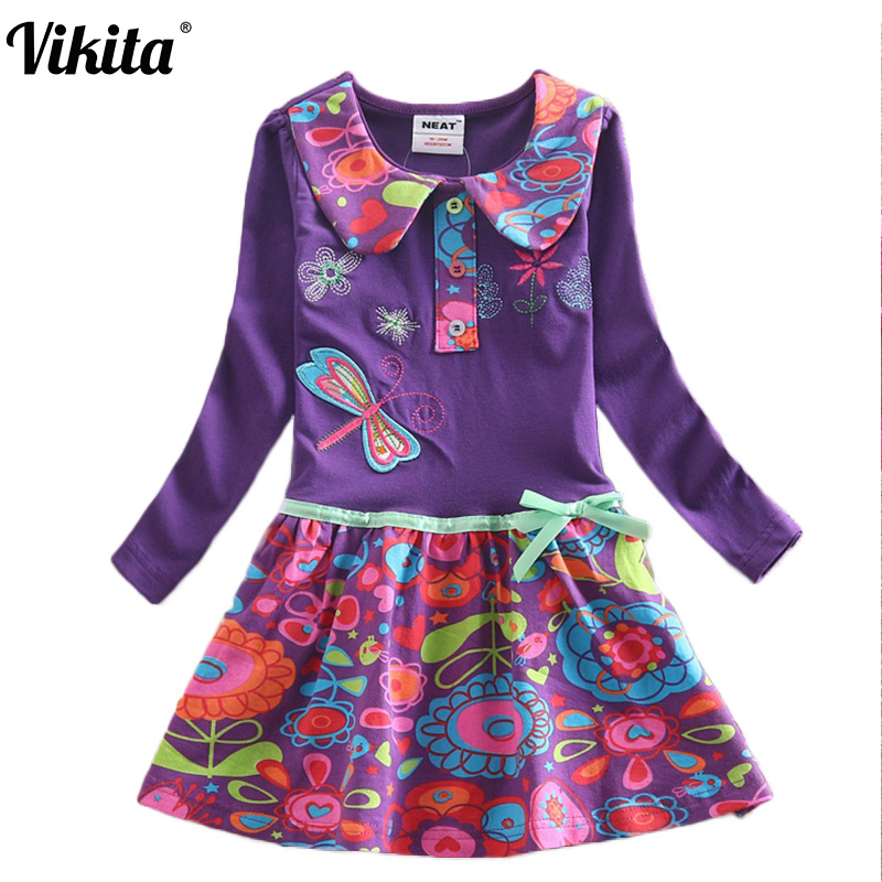 3-7Y VIKITA Kids Girls Dress Baby Children Toddler Princess Dress Vestidos Children's Clothing Girls Winter Dresses L360 Mix 2017 new summer toddler kids girls sleeveless t shirt dress children girls elegant lace dresses light blue dress for 3 7y