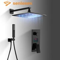 Senlesen светодиодный цифровой Насадки для душа бронза Ванная комната Смесители для душа горячей и холодной воды смесителя Para Ванная комната Д