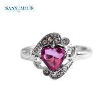 купить SANSUMMER 2019 Ring New Fashion Women Rings Jewelry Trendy Package Big Gem Heart Shape Silver Women Rings Anneau 5179 по цене 50.8 рублей