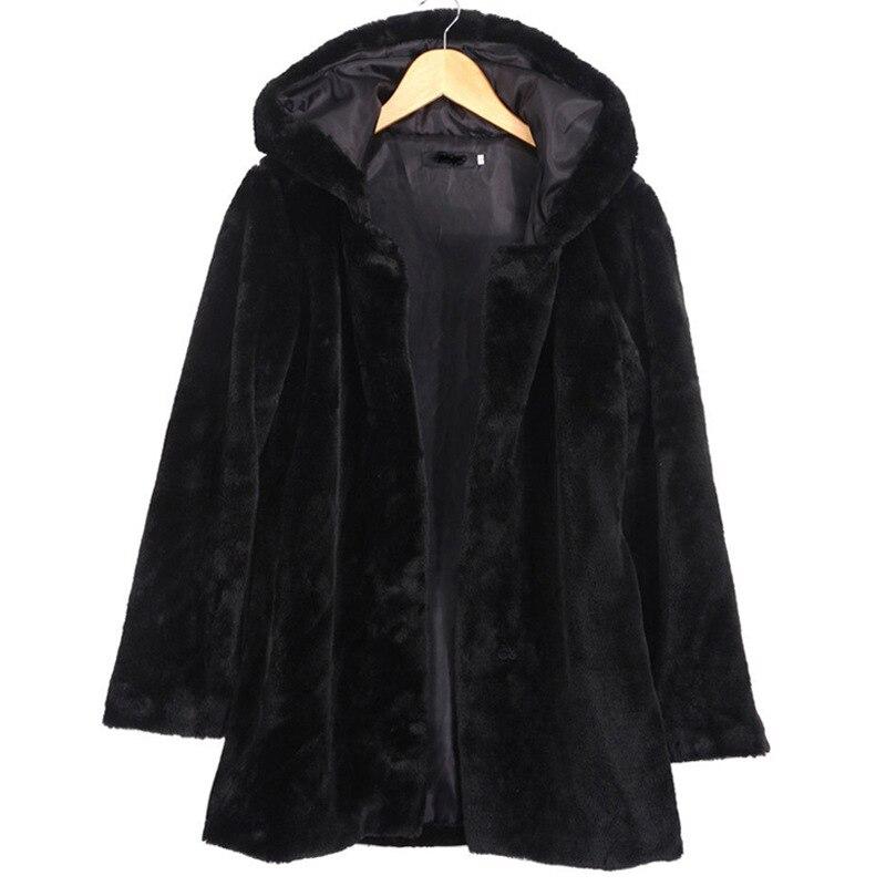 Manteau Femelle Pull De À Fur Et Capuche Zipper Veste En Nouvelle black Long Mode Style Style Chaud Imitation Fourrure Vêtements D'hiver Super 2018 Faux Hook Velours Haute Épais Femmes qOwX886