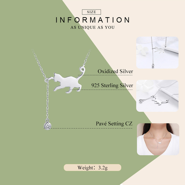 Playful Cat 925 Sterling Silver Necklace