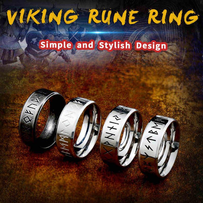 BEIER กว้าง 8 มม.แฟชั่น Viking Rune แหวนงานแต่งงานเครื่องประดับสำหรับผู้ชายผู้หญิง Lover ของขวัญ Retro สไตล์ Drop shipping WR-R105