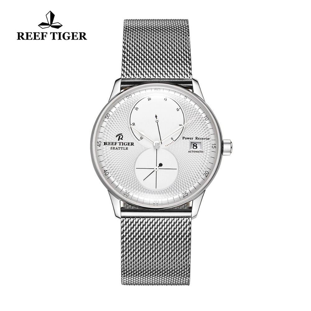 Reef Tiger/RT Fashion Casual Watches for Men Date Business Watch Waterproof Steel Watchband Mechanical Watches Relogio RGA82B0 reef tiger rt business men watch with date stainless steel leather strap waterproof mechanical watches rga823