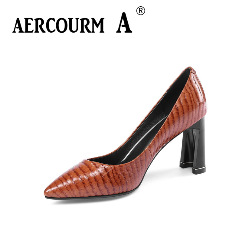 AERCOURM A 2018 Women Genuine Leather High Heels Shoes Black Brown Size 33-43 Pointed Toe Spring Autumn Ladies Dress Shoes M3132 hot sale 2016 new fashion spring women flats black shoes ladies pointed toe slip on flat women s shoes size 33 43