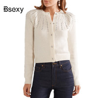 2018 Fashion women Beading Knitted Cardigan White Black Female Autumn Single Breasted Tricot Cardigan Tops Sweater Jersey